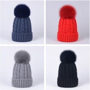 448cab61e17 Women Girls Baby Real Fox Fur Pompom Cashmere Blend Knit Beanie ...