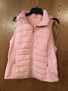 Tangerine-Women-Active-Puffer-Full-Zip-Hooded-Vest-Salmon-Small