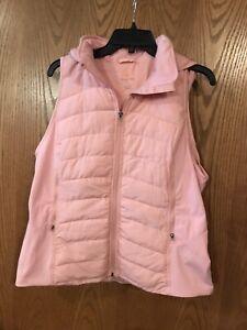 Tangerine Women Active Puffer Full-Zip Hooded Vest Salmon, Small