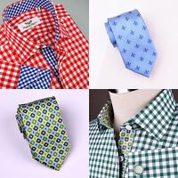 2x Business Dress Shirts W Ties Green & Red Contrast Plaids & Checks B2b Gingham