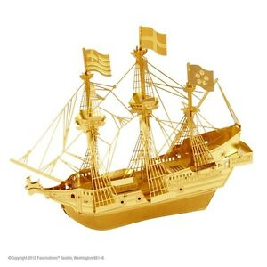 Golden-Hind-Model-3D-Metal-Kit-Gold-Metal-Earth-1504