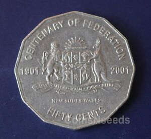 2001 50 CENT COIN CENTENARY OF FEDERATION NEW SOUTH WALES  NSW AUSTRALIA Coins: World