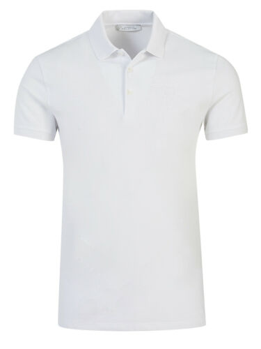 Versace Collection Men/'s White Pique Polo T-Shirt with Medusa Embroidery