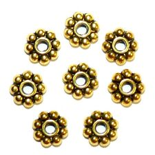 MB5114p Antiqued Gold 7mm Flat Dotted Daisy Rondelle Metal Spacer Beads 25/pkg