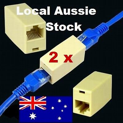 2x RJ45 Ethernet Network Cable Extension Coupler Joiner Connector ADSL Cat 5 5e