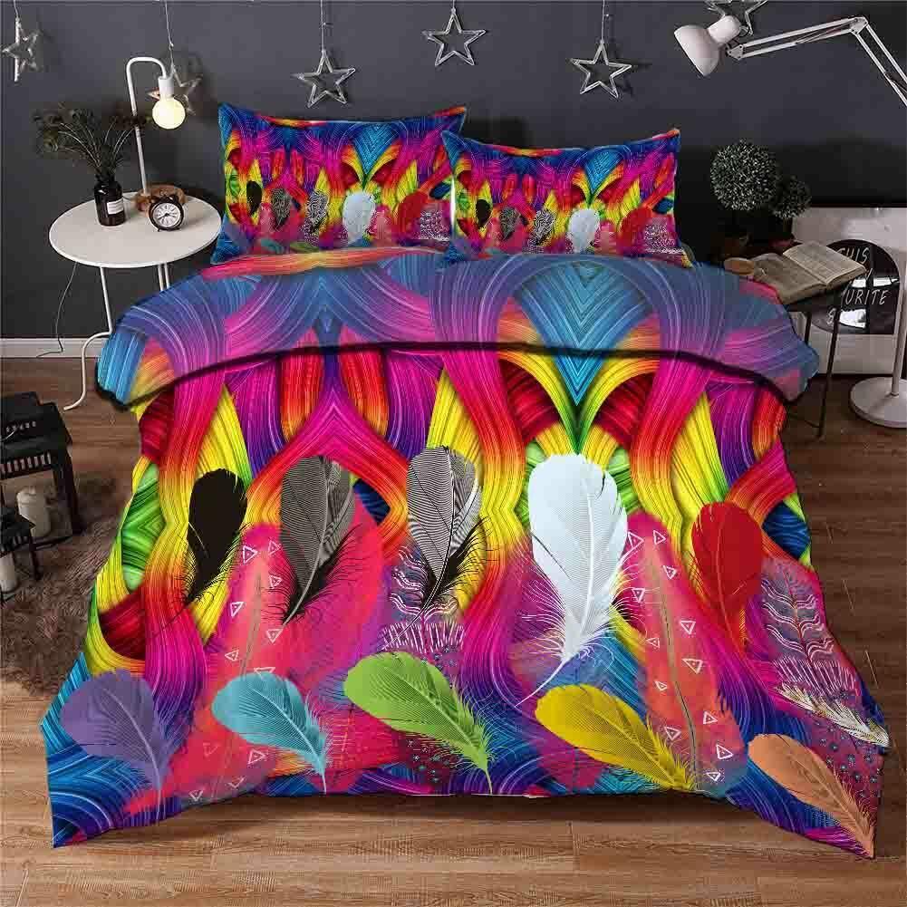 Curved Feathers 3D Druckening Duvet Quilt Will Startseites Pillow Case Bettding Sets