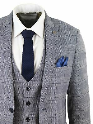 Mens Marc Darcy 3 Piece Suit Grey Prince of Wales Blue Check Vintage Retro