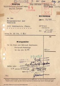 Rechnung-Protos-Telefongesellschaft-mbH-Bezirk-Erfurt-3-5-1948-AfS-Siemens