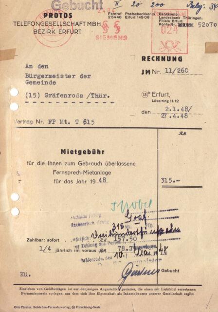 Rechnung, Protos Telefongesellschaft mbH, Bezirk Erfurt, 3.5.1948, AfS Siemens