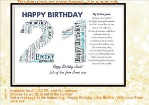 Image Is Loading Personalised Special Brother Poem Word Art 21 18