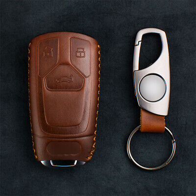 Retro Brown Leather Smart Key Cover FOB Shell For Audi 2017-2019 A4 A5 Q5 Q7 TT