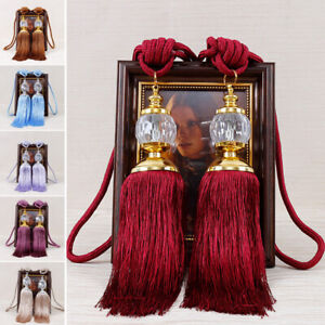 2PCS-Luxury-Curtain-Holdbacks-Rope-Tie-Backs-Tassel-Tiebacks-Beaded-Ball-Decor