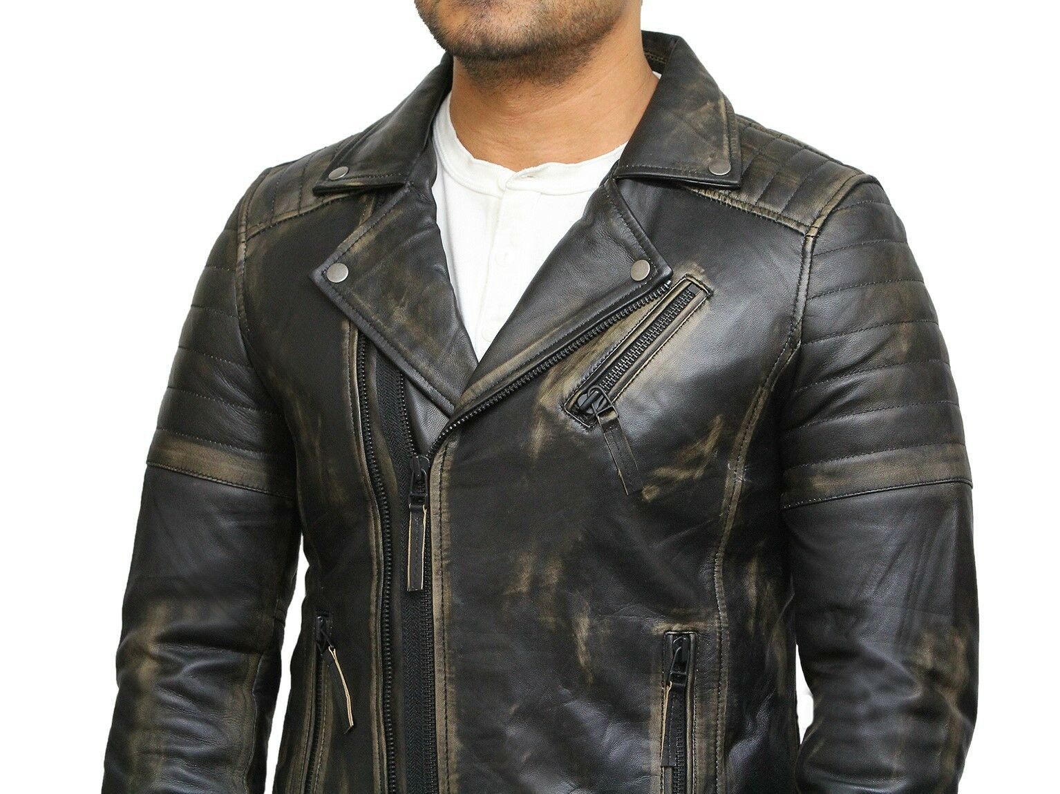 Vestes Mens Motard Vintage Hommes Pour Cuir Brandslock XqOSYIZ