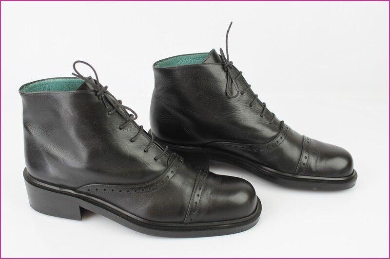 Boots à Lacets MINE DE RIEN TBE Cuir Noir T 36 TBE RIEN 7bce02
