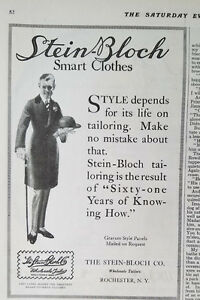 1915 Vintage Stein Bloch Mens Smart Clothes Rochester Ny Fashion Ad