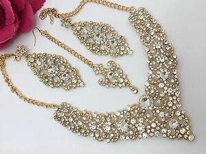 Image is loading Indian-Bollywood-Costume-Jewellery-Necklace-Set-Gold -Design-  sc 1 st  eBay & Indian Bollywood Costume Jewellery Necklace Set Gold Design Wedding ...