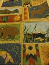 NIP Fabric~SHOWER CURTAIN~FISH~DUCKS~MOOSE~Lodge~Cabin in Woods~Tan~Hunting