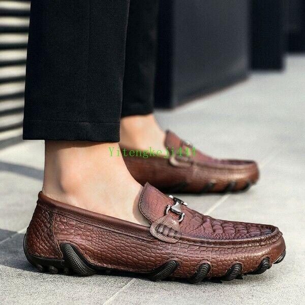 Hombre Cuero Real de impresión de cocodrilo Mocasines Mocasín Gommino Conducción Zapatos Slip On