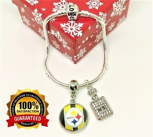 ae2c21541f2 Image is loading Pittsburgh-Steelers-Sterling-Silver-Bracelet-amp-No-5-