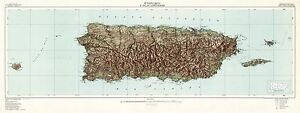 MAP-TOPOGRAPHICAL-USGS-1952-PUERTO-RICO-OLD-LARGE-REPLICA-POSTER-PRINT-PAM1448