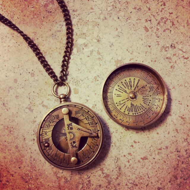 3 pc VintageStyle Sundial Compass Calendar Necklace Nautical Antique Bronze