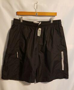 Mens-Foot-Locker-Black-Utility-Nylon-Shorts-XL-Drawstring-Waist-4-Pockets-NWT