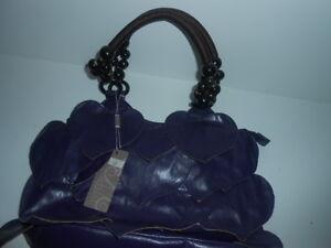 Paula-Rossi-Large-Handbag-Harts-Design-Purple-Wooden-Handles-New-with-Tags