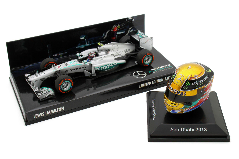 1 8 1 43 Minichamps Spark Lewis Hamilton Mercedes 2013 F1 Car Set EE. UU. Abu Dhabi