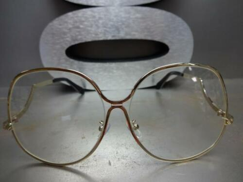 OVERSIZE VINTAGE RETRO Style Clear Lens SUNGLASSES Unique Upside Down Gold Frame