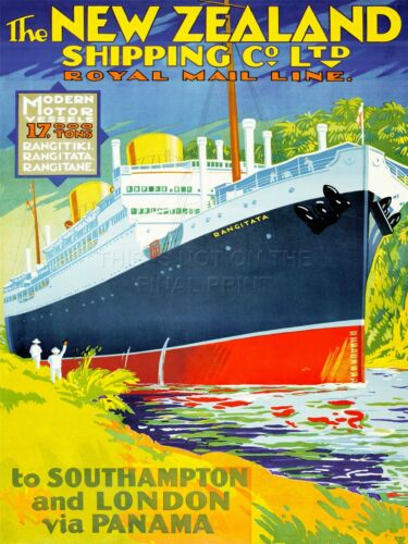 ART PRINT POSTER ADVERT NEW ZEaLAND SHIPPING CO ROYAL MAIL LINE LONDON NOFL0730