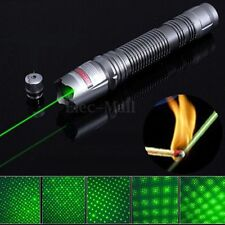 New 2000M Adjustable Focus Green Laser Pointer Pen 532nm Burning+ 5mW Star Cap