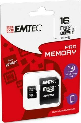 MICROSD HC 1 Memory Card Class 10 + SD Adapter 16GB Pro (3D/4K) Emtec