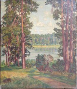 WILLY-STELZER-1883-OLGEMALDE-BERLN-KIEFERN-AM-UFER-SCHLACHTENSEE-HAVEL
