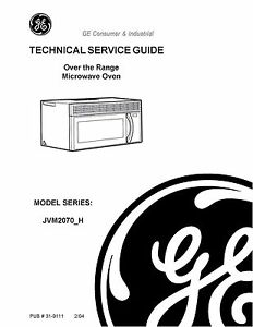 repair manual ge microwave oven choice of 1 manual ebay rh ebay com GE Microwave JVM 3160 ge je2160 microwave service manual