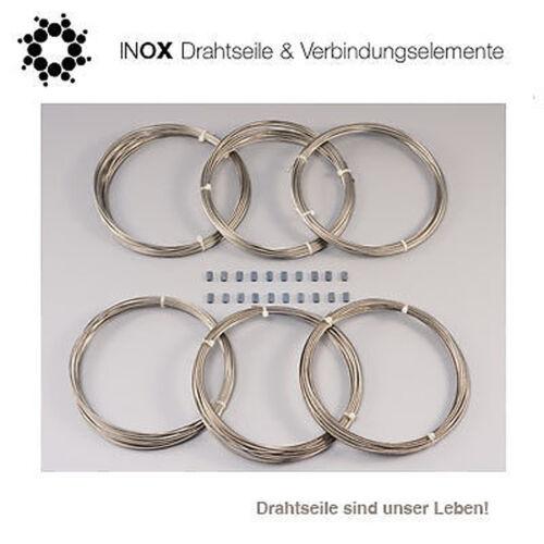 20 Klemmen für Rankgerüste und Spaliere 6 x 8m Edelstahl-Drahtseil Ø 2mm