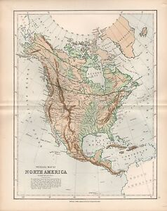 North America Map Physical.1875 Ca Antique Map Physical Map Of North America Ebay
