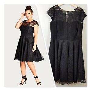 [ CITY CHIC ] Womens Black Lace Audrey Fit & Flare Dress | XS or AU 14 / US 10