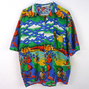 KYS Hawaiian Mens Sz L Shirt Blue Vibrant Floral Panel Print 100/% Cotton