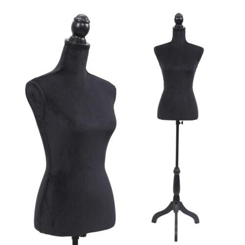Black Female Mannequin Torso Clothing Display W// Black Tripod Stand New