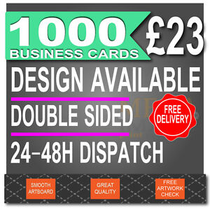 1000 Business Cards Printed, FULL COLOUR, DOUBLE SIDED, 24-48H DISPATCH