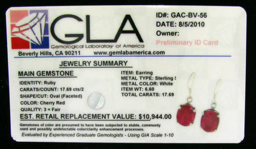 RUBY Earrings, 17 carats, Oval, Certified 11K, Cherry Red