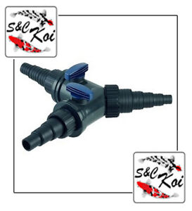 Oase 3 Way Valve Y Regulator/ Stepped Tee Connector/ Stepped Hose Connector