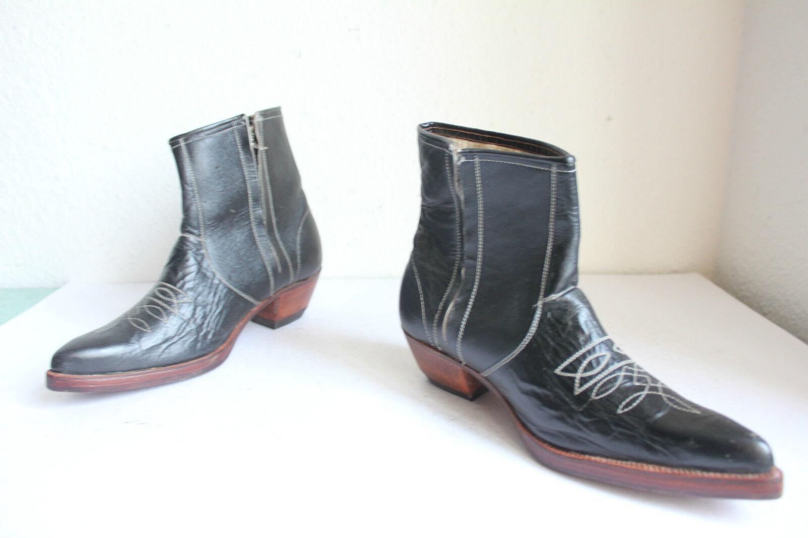Vintage Western Cowboy Elegante Stiefel Stiefeletten Voll Echtleder Schwarz Eu 37