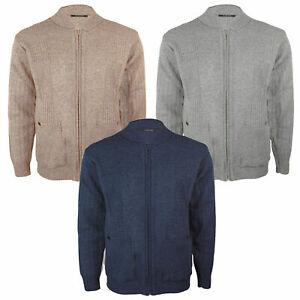 Mens-cardigan-vintage-de-punto-grueso-calido-Abuelo-Clasico-Cardi-Sueter-Jumper