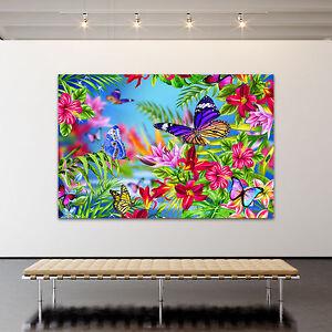 leinwand bild poster xxl pop art graffiti blumen bunt abstrakt kunstdruck ebay. Black Bedroom Furniture Sets. Home Design Ideas