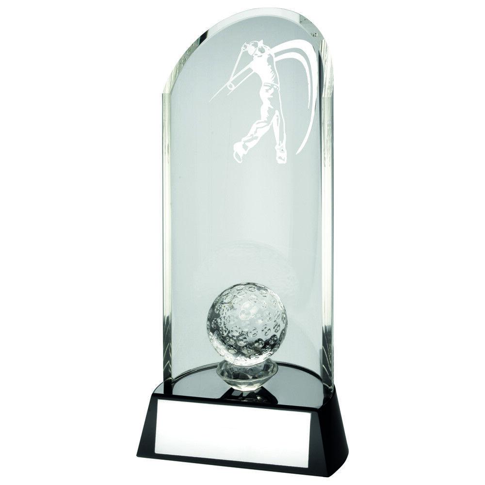 Emboité 3D Balle Balle Balle de golf transparent verre noir Trophée gratuite GRAVURE + étui 1a4d98