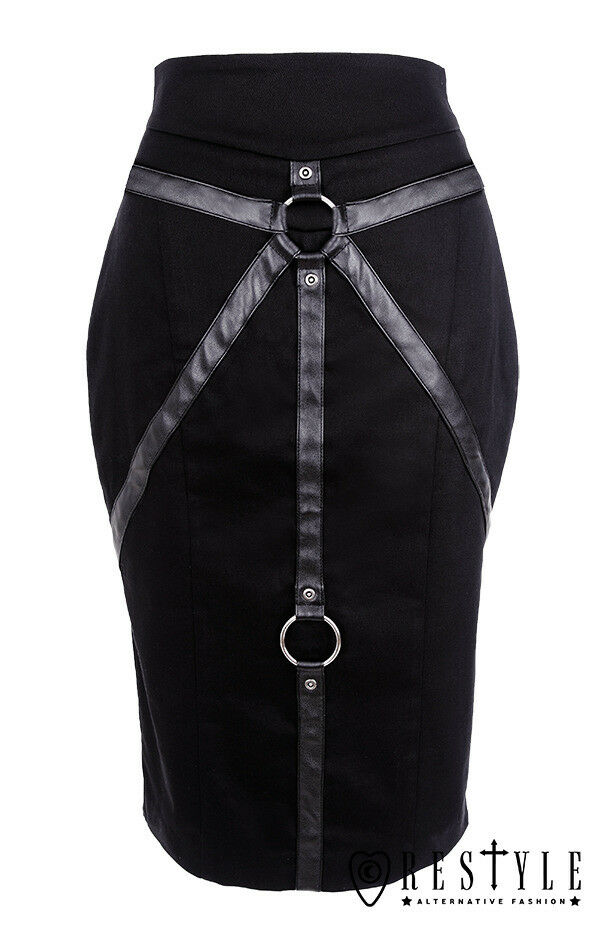 Bondage Pencil Skirt Industrial Nu Goth Gothic Grunge Straps O Rings Restyle