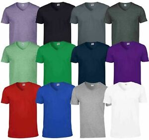 Gildan-Mens-Men-039-s-Soft-Style-Plain-V-Neck-T-Shirt-Cotton-Tee-Tshirt