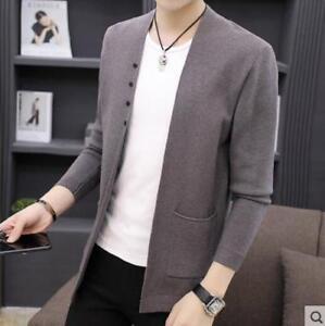 longues bouton tricoté solide manches poche élégant Outwear cardigan pull Mens O8wPk0n