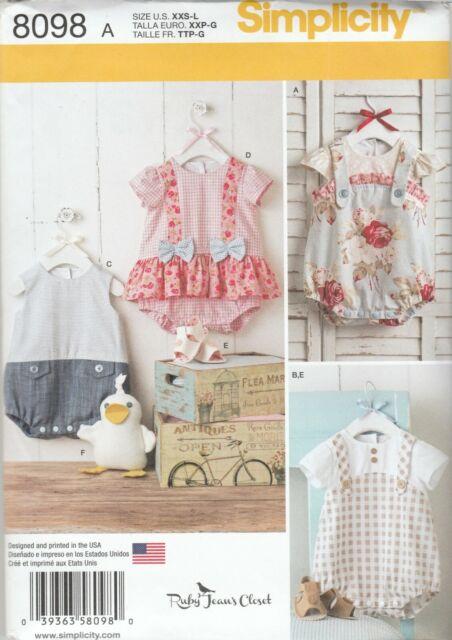 Simplicity Sewing Pattern 8098 Babies Infant Rompers Sandals & Toy Duck Sz XXS-L